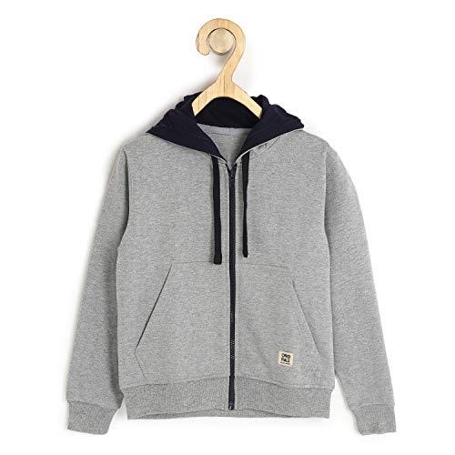 Alan Jones Clothing Boys Cotton Hooded Sweatshirt (Melange_9-10 Years)