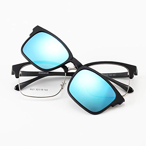 LKVNHP Vintage Polarisierte Sonnenbrille Männer Magnetclip Auf Sonnenbrille Frauen Tr90 Blau Fahren Sonnenbrille Magnet Myopie Brillengestell Uv400Schwarz Blau