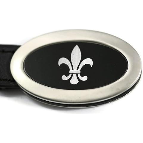 DanteGTS Chevrolet Fleur De Lis Cestino Chevy ovale a forma di goccia, in pelle, colore: nero, con portachiavi Logo Portachiavi autentico Portachiavi a cordino 8,25 cm x L (3,25