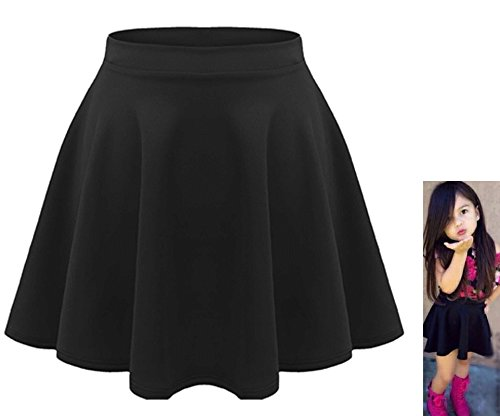 Red Olives Kids Girls Children High Waisted Stretch Plain Flippy Flared Short Skater Skirt Teens 7-8 Years, 9-10 Years, 11-12 Years, 13 Years