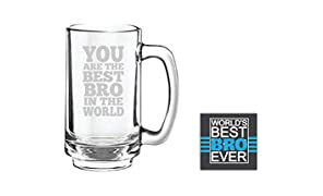 YaYa Cafe™ Anniversary Birthday Gifts for Brother Best Bro in The World Beer Mug Playboy 357 ml Coaster Gift Combo of 2