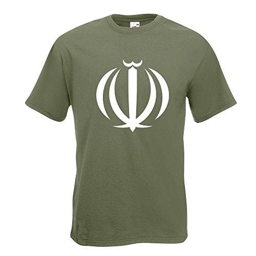 KIWISTAR - Hoheitszeichen des Iran T-Shirt in 15 verschiedenen Farben - Herren Funshirt bedruckt Design Sprüche Spruch Motive Oberteil Baumwolle Print Größe S M L XL XXL Olive