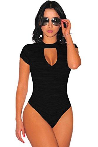 Nice buy Donna Manica Corta Scollo a V Jumpsuit Body Leotard Top Nero