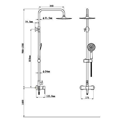 41RRqCn69AL. SS416  - HOMELODY Columna de Ducha Circular 90-130cm Altura Regulable con Ganchos Ducha de Lluvia Ducha de Mano Multifuncional y Alta Resistencia