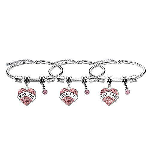 3 pulseras de cristal para hermana, hija, regalo de cumpleaños o Navidad