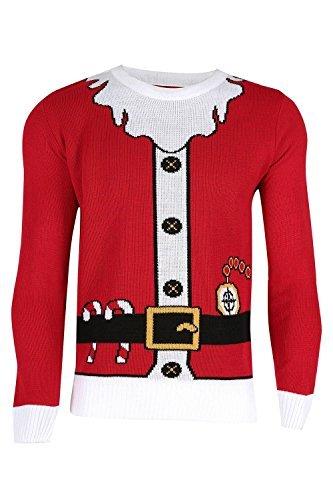 Unisex Herren Damen Weihnachts Pullover Santa Bart Gürtel Kostüm Pullover Sweatshirt - Weihnachtsmann Kostüm Rot, S EU (Bart Kostüm Rot)
