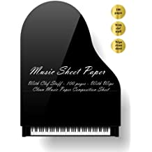 Music Sheet Paper: Music Sheet Paper. With Clef Staff (100 pages). With Wipe Clean Music Sheet Paper Composition Sheet