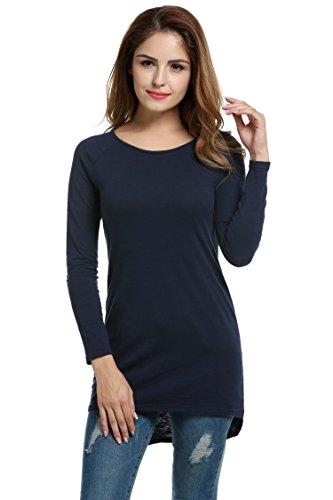 Meaneor Damen Langarm Shirt Basics Shirt Longshirt Tunika Bluse T-Shirt Baumwolle Oberteil Asymmetrisch, Navy Blau, EU 44(Herstellergröße: XXL)