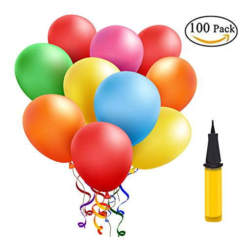 Luftballons Bunt 100 Stueck, Helium Luftballons, Pumpe Luftballons Bunte Ballons Dekorationen für Party Geburtstags kindergeburtstag Hochzeit( 100 Stück ) (Stück Luftballons 100)