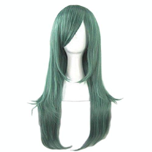 70CM Fashion Fluffy lange Gerade Gesundes Haar-Perücken Volle Perücke Grün