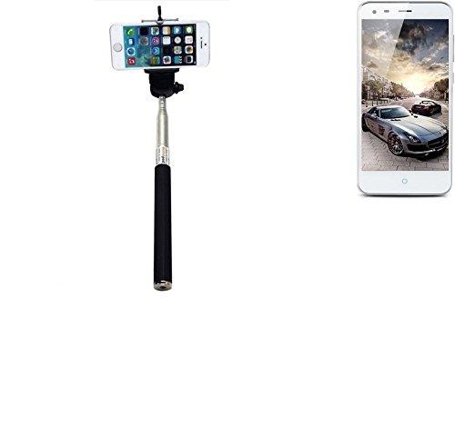 Selfie Stick palillo para ZTE Blade S6+, negro, Monopod, mástil telescópico, autorretrato