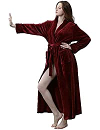 dc277ecbf3 Women Winter Long Bathrobe Soft Warm Ladies Luxury Fleece Dressing Gown  White Grey