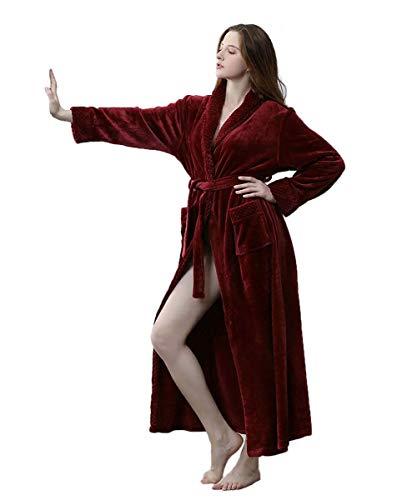 Damen Winter Fleece Morgenmantel Langer Bademantel Weich Warm Flauschiges Nachthemd Flanell Plüschhalsband Nachtwäsche Leicht Nachtwäsche Grau Rosa Lila Rot Weiß -