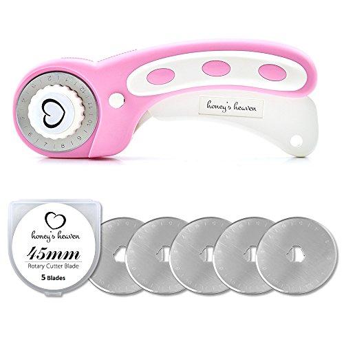 Honey's Heaven Rollschneider Set mit 5 Ersatzklingen - die Stoffschneider Klinge blockiert Nicht mehr - TOP Rundklingen Rollmesser (pink)