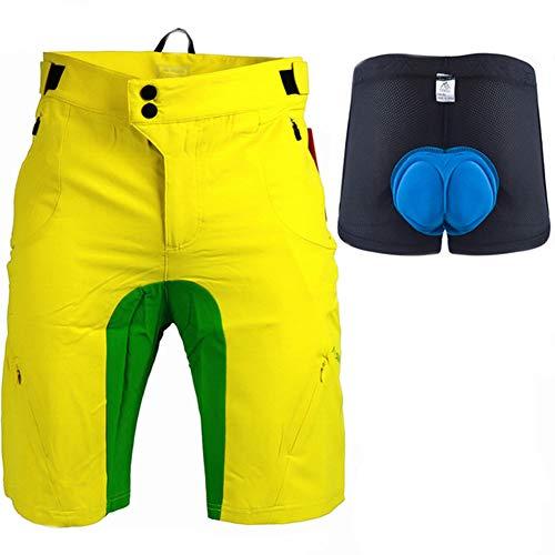 xMxDESiZ Männer Sommer Atmungsaktiv Mountain MTB Fahrrad Radfahren Gel Pad Unterwäsche Shorts Gelb M -