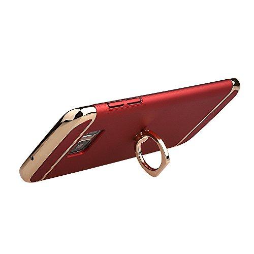 xhorizon FM8 3 in 1 ultra dünn hart Schutz Stilvoll Tasche für Samsung Galaxy S7 Edge mit 360 Grad Drehbar Ring Ständer mit einem 9H Ausgeglichen Glas Film Rot