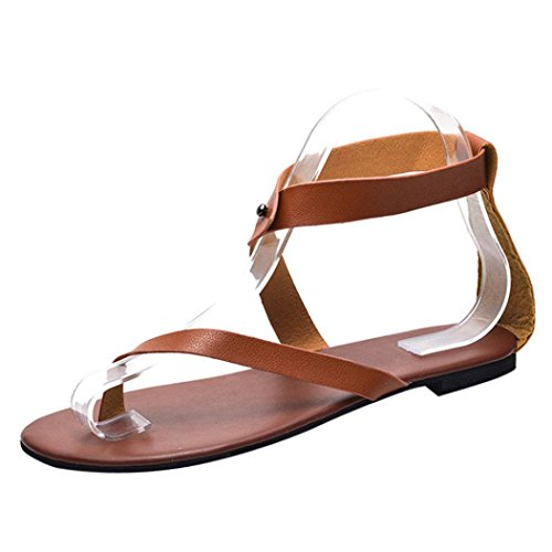 Muium Women Ladies Leather Flat Roman Sandals Clip Toe Ankle Strap Casual Slippers Shoes