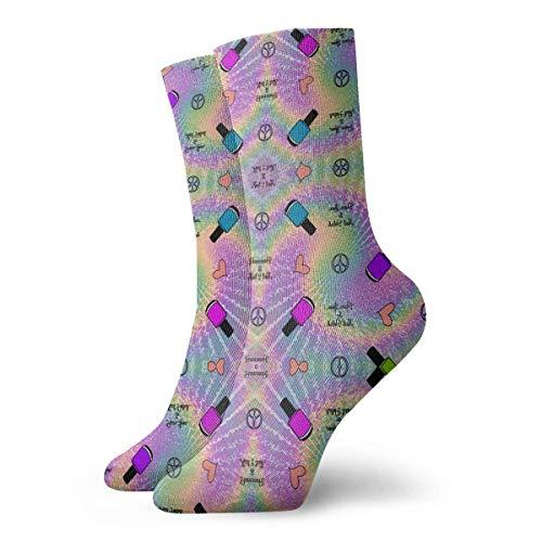 AORSTAR Socken Socks Breathable Peace, Love, Nail Polish Fabric (11494) Crew Sock Exotic Modern Women & Men Printed Sport Athletic Socks 11.8in (Pack 6 Socke Athletic-crew)