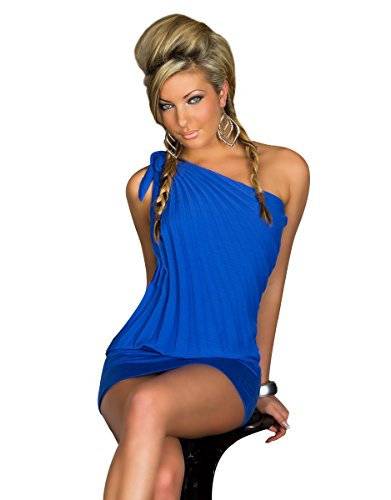 Femme 5958 fashion4Young mini-robe asymétrique en chiffon top long en 5 coloris disponibles taille 34/36 Noir - Bleu royal