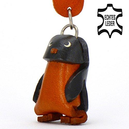 Monkimau Pinguin Pingu Leder Schlüssel-anhänger Deko-Figur 3D Charm-s Kinder Mädchen Damen Geschenk-e Zoo schwarz braun 5cm klein - Plüsch-die Aus Pinguine Madagascar