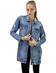 DSguided Damen Jeansmantel mit Rissen CutOut Blogger Mantel