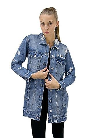 DSguided lange Jeansjacke Damen Jeansmantel mit Rissen Cut Outs Blogger Jeans Jacke Mantel, Größe:S,
