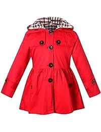 ARAUS-Mädchen Mantel Herbst Winter Klassische Jacke Klein mädchen Lang  Windjacke mit Kapuze Baumwolle Trenchcoat d4c1a73492
