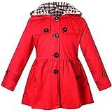ARAUS-Mädchen Mantel Winter Dicke Klassische Jacke klein mädchen lang Windjacke mit Kapuze Baumwolle Trenchcoat Rot 130