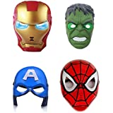 IndusBay® Avengers Set of 4 - Ironman , Captain America , Hulk and Spiderman LED Face Mask for Kids