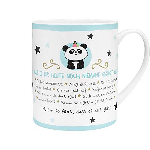 Die Geschenkewelt 45756 XL-Tasse im Panda-Design, Porzellan, 60 cl, mit Geschenk-Banderole, Blau -