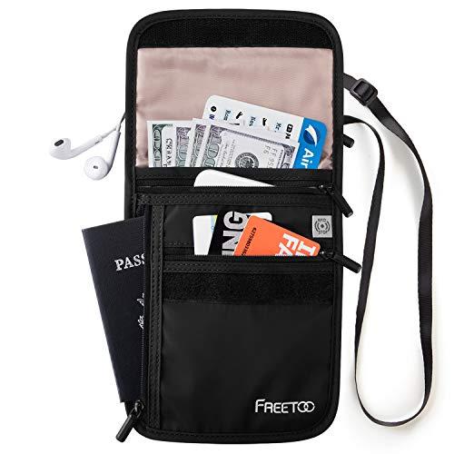 FREETOO Brustbeutel Reise mit RFID-Schutz 6 Fächer Ordentlich für Handys, Pässe, Bankkarten, Bargeld, Bordkarten -