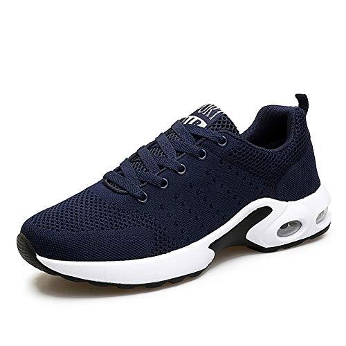 MIMIYAYA Unisex Sportschuhe Laufschuhe Bequeme Air Laufschuhe Schnürer Running Shoes Mode und Freizeit, Gr.-40 EU, Blau Weiß (Nike Canvas Sneakers Frauen)