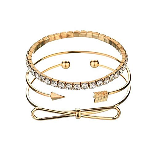FaLaiDi Adjustable Bowknot Arrow Wire Stackable Wrap Open Cuff Bangle Bracelet Set for Girls
