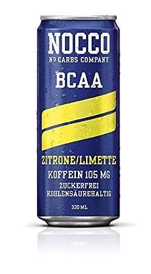 24 x 330 ml NOCCO BCAA Drink inkl. Pfand - Geschmacksrichtung Zitrone / Limette - No Carbs Company Fitness Drink
