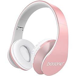 Barsone Cascos Inalámbrico Bluetooth con Micrófono y Radio Incorporada Soporta Tarjeta TF, Auriculares Estéreo de Diadema Plegables con Orejeras Suaves para iPhone, Móviles Android, Tableta (Oro rosa)