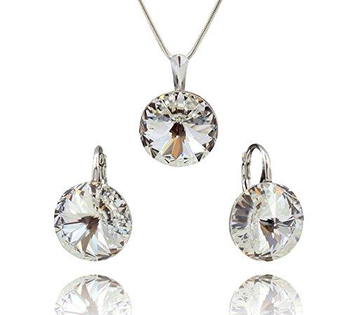 Crystals&stones, rivoli, parure di gioielli da donna, composta da catena in argento sterling 925, ciondolo e orecchini con cristalli originali swarovski® elements, in elegante custodia