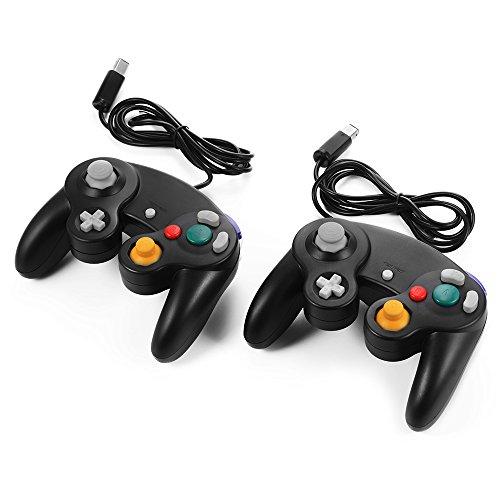 XCSOURCE 2pcs Manette Filaire Contrôleur de Jeu pour Nintendo Wii GameCube NGC GC Noir AC442 4894479749739