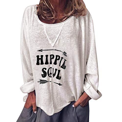 Angel Kostüm Säuglings - masrin Damen Top Fashion Langarm Rundhals Shirt Lässig Hippie Soul Letter Print Lose Bluse(XL,Weiß)