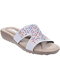 Divaz Womens/Ladies Kiti Slip On Embelished Padded Wedge Summer Mules