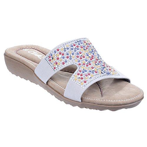 Divaz Womens/Ladies Kiti Slip On Embelished Padded Wedge Summer Mules White