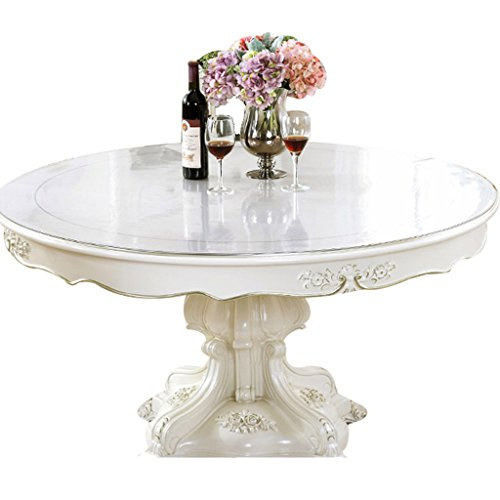Nappes Circulaire en Verre Souple Cristal PVC Ronde Transparente Table Imperméable À l'huile Anti-Chaude (1.5mm) (Taille : Diameter 138 cm)