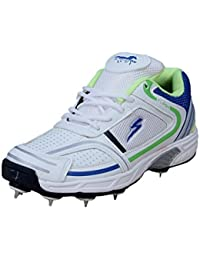 Stallion Sports Stallion Flash-0001 Best International Cricketer Players Used White & Green Full Spike's Non Marking Sole Men's & Boy's Playing - Best in Cricket Sports Shoes