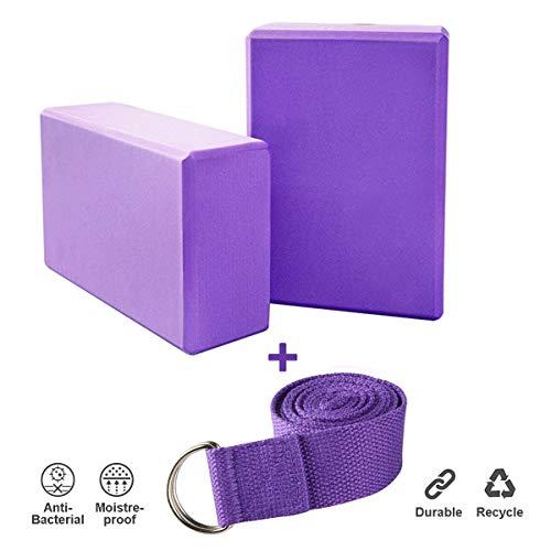 UpChoice Yoga Starter-Kits – 2 Yoga-Blöcke + 1 Yoga-Gurt für Yoga, Pilates (lila)