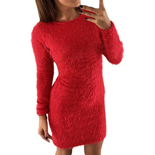 Pullover Damen Sweatshirt Ronamick Einfarbig Sexy Frauen Winter Langarm Solid Sweater Fleece Warm Basic Kurzes Minikleid (Rot, M) (Solid Crewneck Pullover)