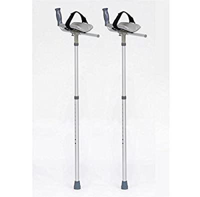 Pair of Padded Forearm Platform Trough Height Adjustable Crutches for Arthritis