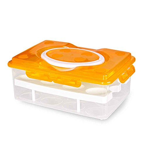 meisijia Doppellagiges Kunststoff-Kühlschrank-Ei-Vorratsbehälter mit Griff für 24 Eier Orange