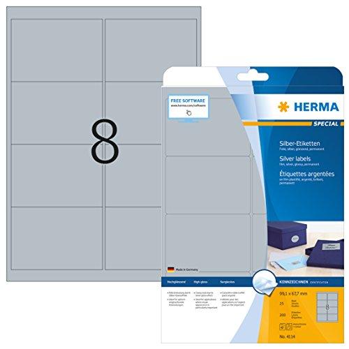 Herma 4114 Wetterfeste Folien-Etiketten silber (99,1 x 67,7 mm) 200 Aufkleber, 25 Blatt DIN A4 Klebefolie glänzend, bedruckbar, selbstklebend (Folie-etiketten)