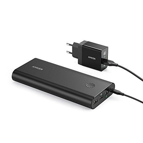 Anker PowerCore+ 26800mAh Premium Externer Akku USB Ladegerät Kombo mit Qualcomm Quick Charge 3.0 und Power IQ, Aluminium mit hoher Kapazität 3-Port Powerbank, 2x schneller wiederaufladbar (Schwarz)