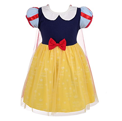 Lito Angels Kleine Mädchen Prinzessin Schneewittchen Kleid Kostüm Geburtstag Weihnachten Halloween Party Verkleidung Karneval Cosplay Kinder mit Cape 4-5 Jahre (Kleine Mädchen Angel Kostüm)