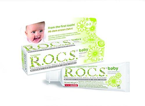 R.O.C.S. - Zahncreme Baby Duftende Kamille Beim Verschlucken unbedenkliche & effektive Formel - 45 g - Zahnpasta Düfte, Kinder,